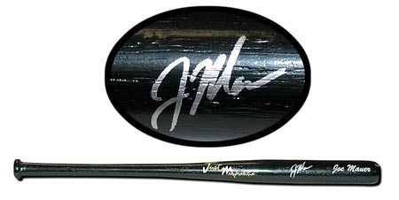 Joe Mauer Autographed Mini-Bat Black #'d to 50