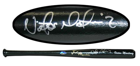 Victor Martinez Autographed Mini-Bat Black #'d to 50