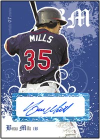 JFP07 White Auto (#'d to 200) Beau Mills